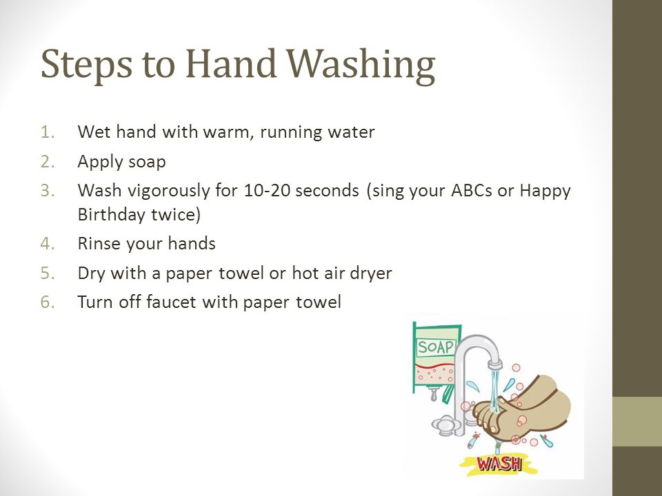 Steps to Hand Washing Wet hand with warm, running water Apply soap