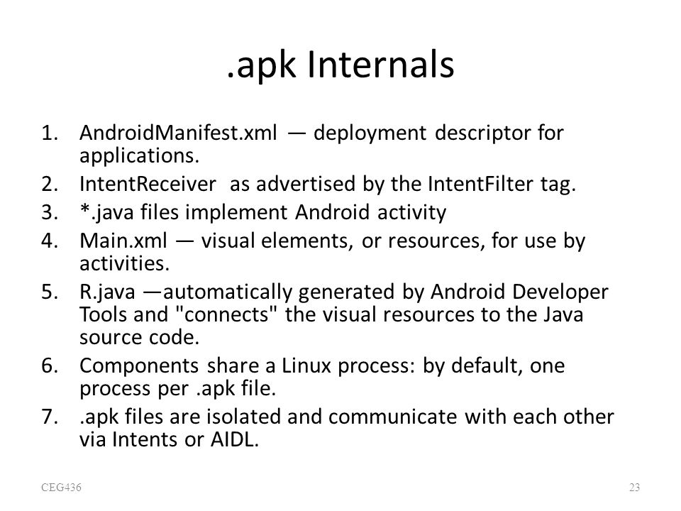 .apk Internals AndroidManifest.xml — deployment descriptor for applications. IntentReceiver as advertised by the IntentFilter tag.