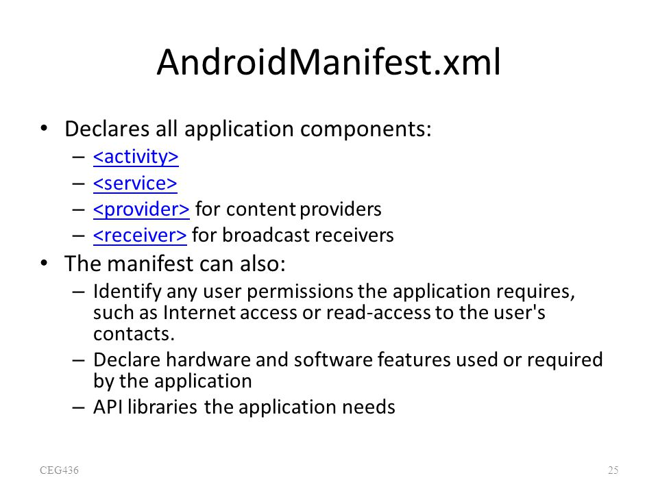 AndroidManifest.xml Declares all application components: