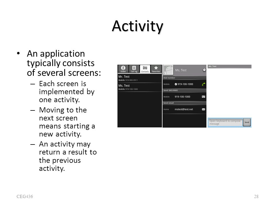 Activity An application typically consists of several screens: