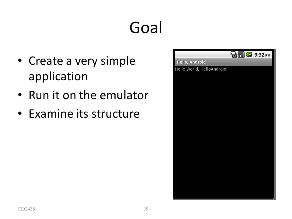 Goal Create a very simple application Run it on the emulator