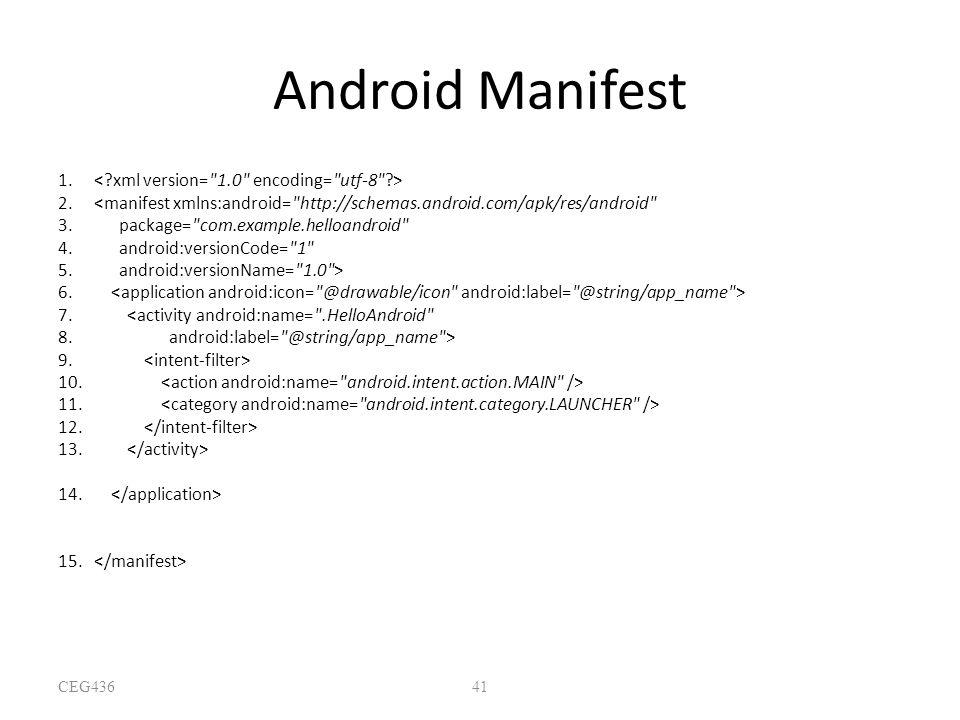 Android Manifest < xml version= 1.0 encoding= utf-8 >