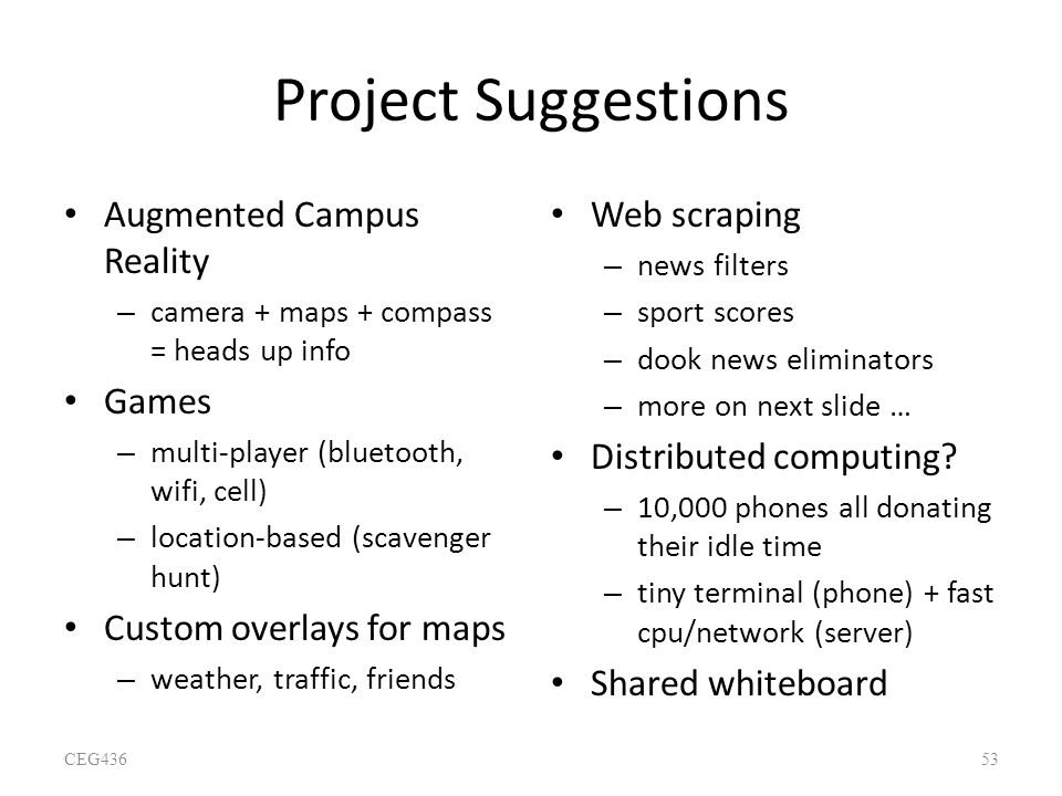 Project Suggestions Augmented Campus Reality Games
