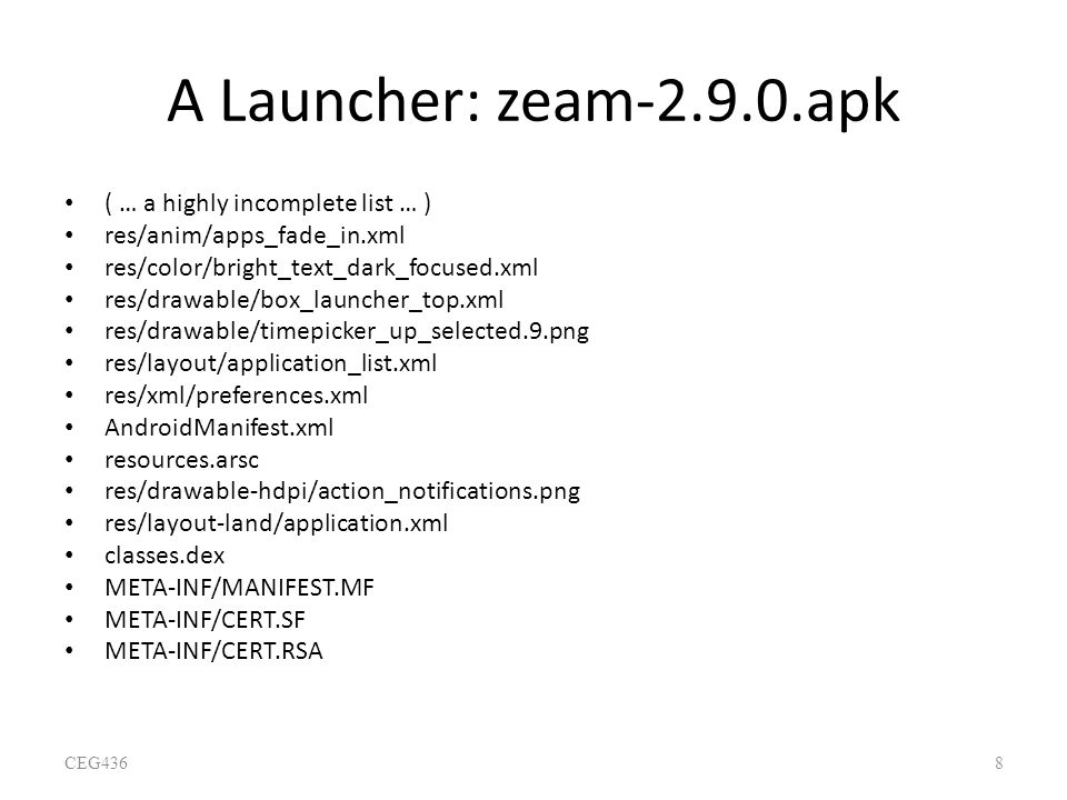A Launcher: zeam-2.9.0.apk ( … a highly incomplete list … )