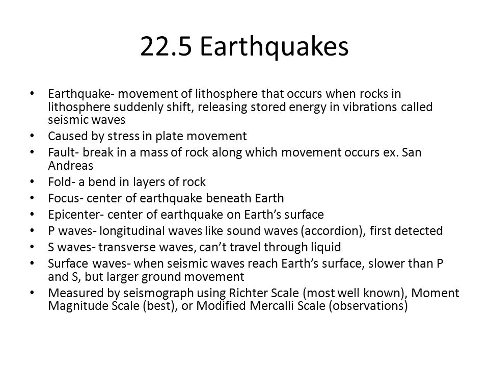22.5 Earthquakes