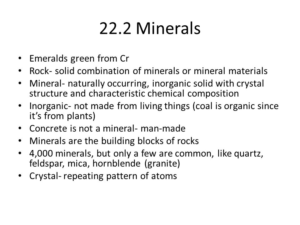 22.2 Minerals Emeralds green from Cr