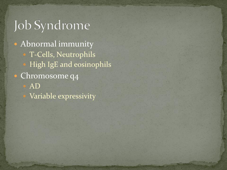Job Syndrome Abnormal immunity Chromosome q4 T-Cells, Neutrophils