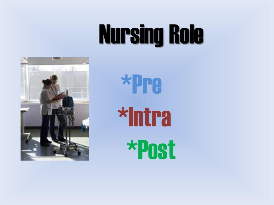 Nursing Role *Pre *Intra *Post