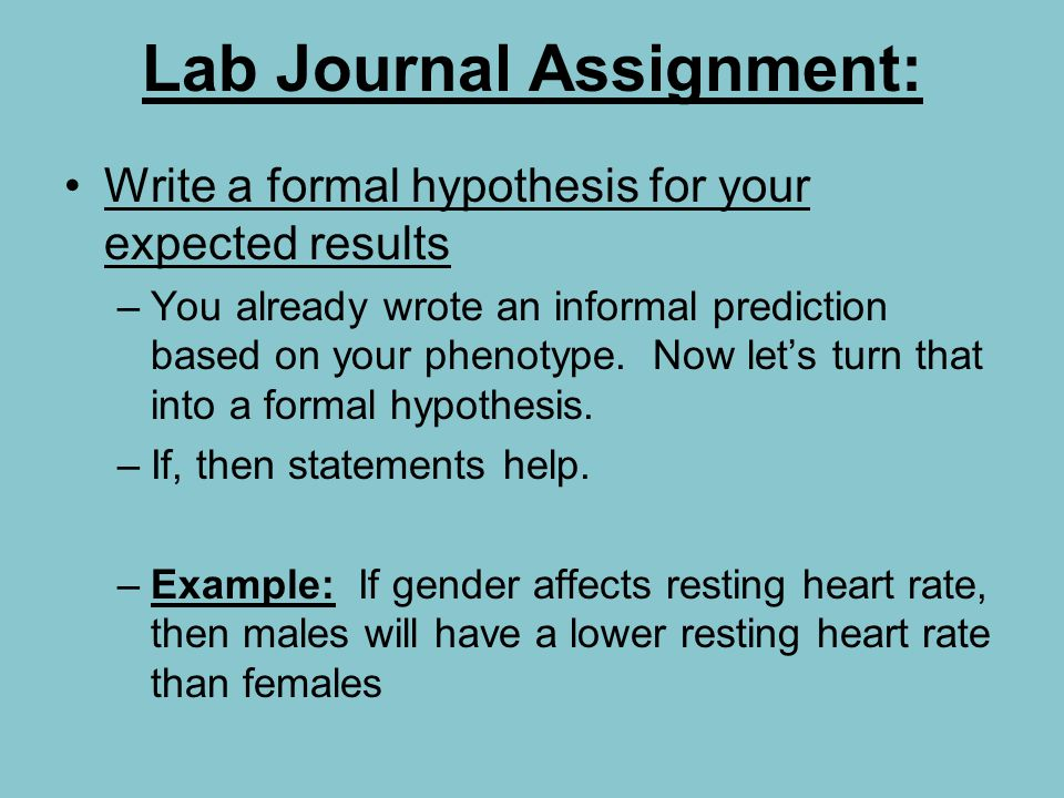 Lab Journal Assignment: