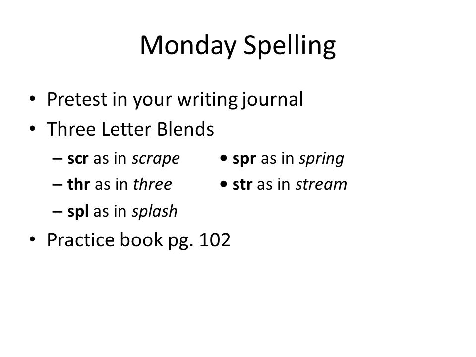 Monday Spelling Pretest in your writing journal Three Letter Blends