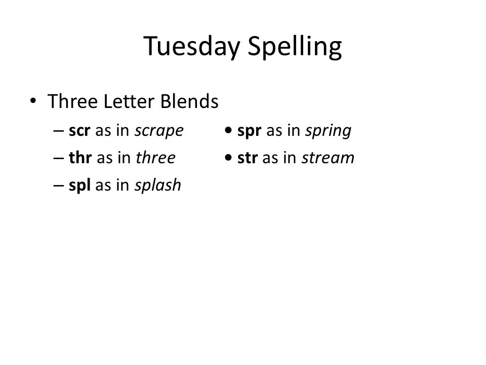 Tuesday Spelling Three Letter Blends