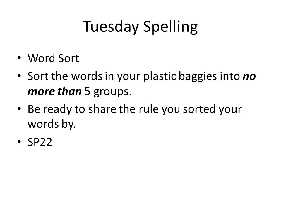 Tuesday Spelling Word Sort