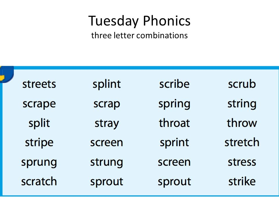 Tuesday Phonics three letter combinations
