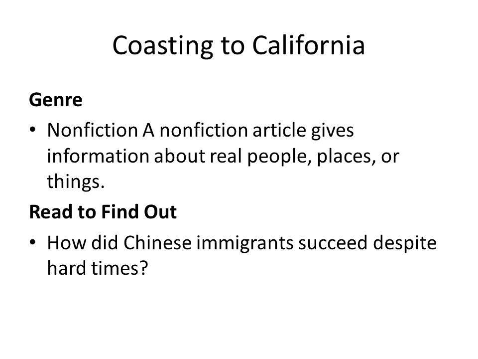 Coasting to California