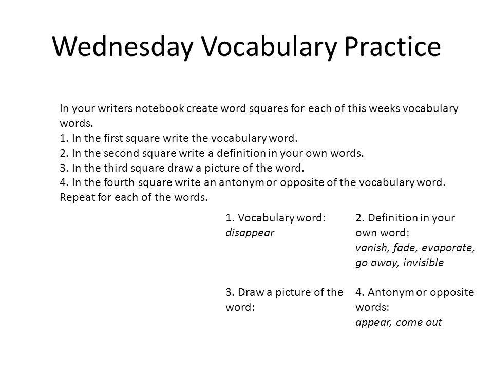 Wednesday Vocabulary Practice