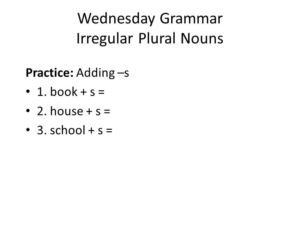 Wednesday Grammar Irregular Plural Nouns