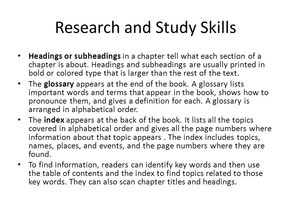 Research and Study Skills