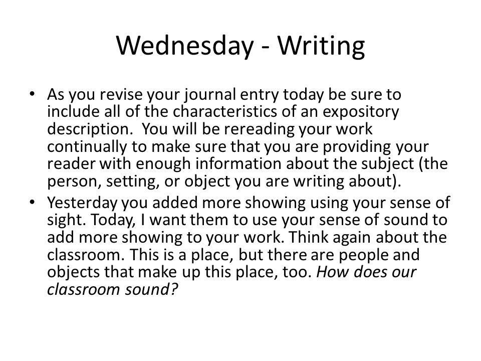 Wednesday - Writing