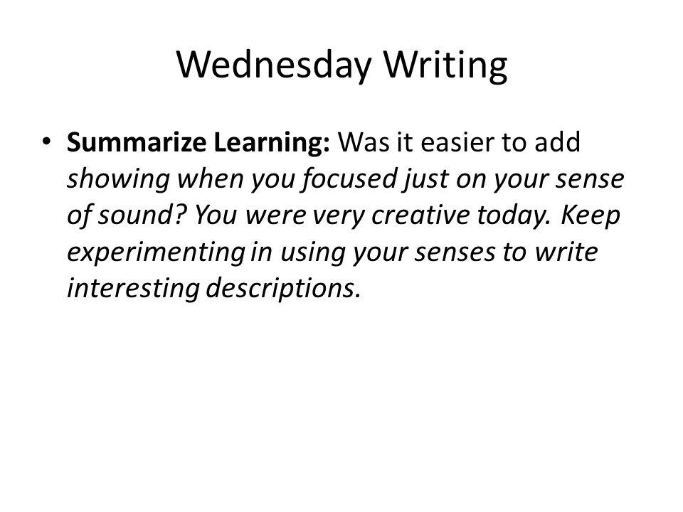 Wednesday Writing