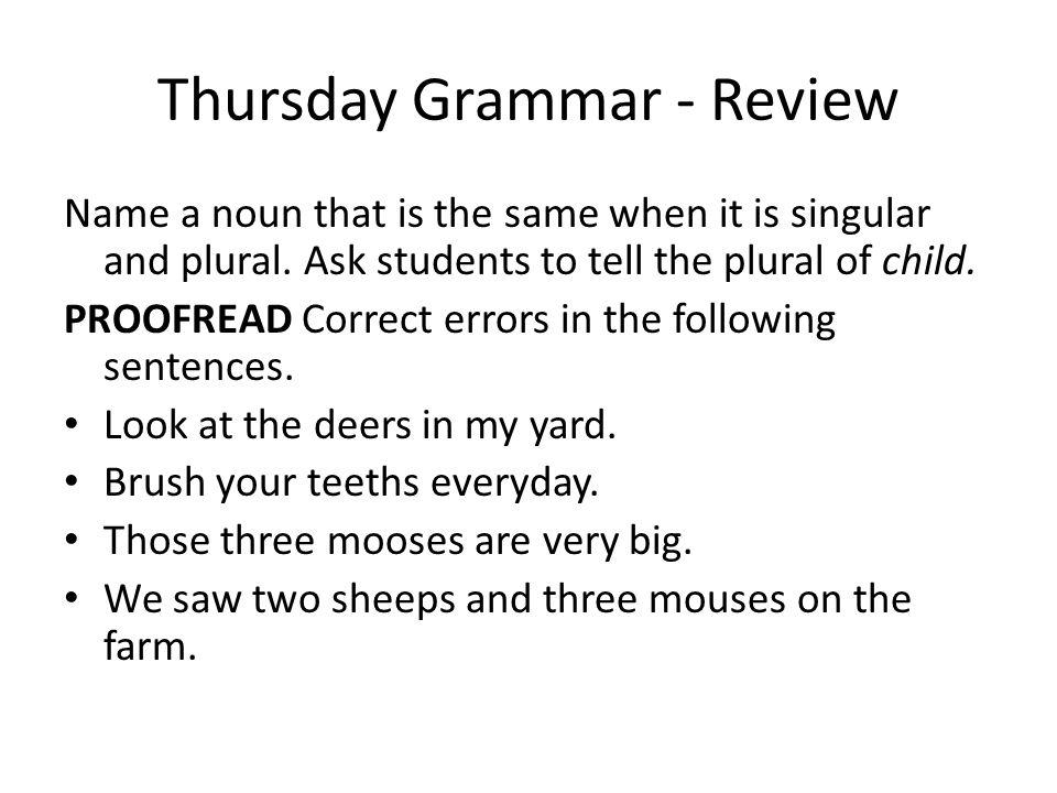 Thursday Grammar - Review