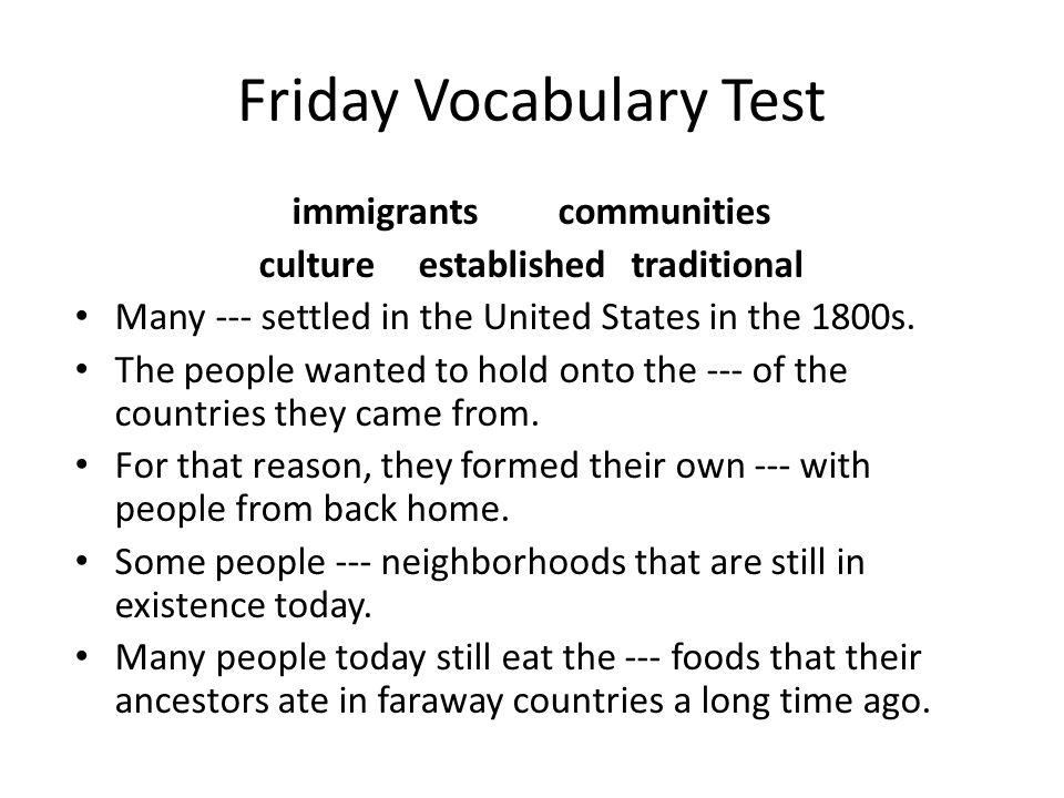 Friday Vocabulary Test