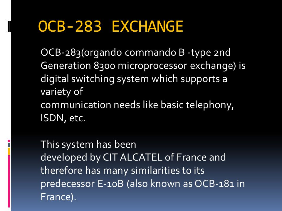 OCB-283 EXCHANGE