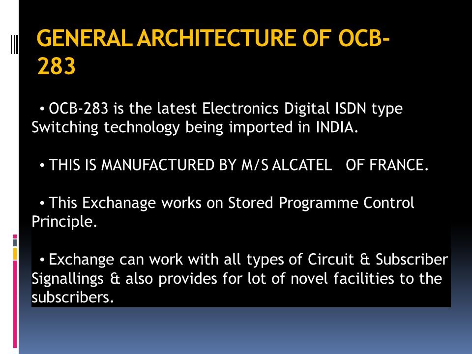 GENERAL ARCHITECTURE OF OCB-283