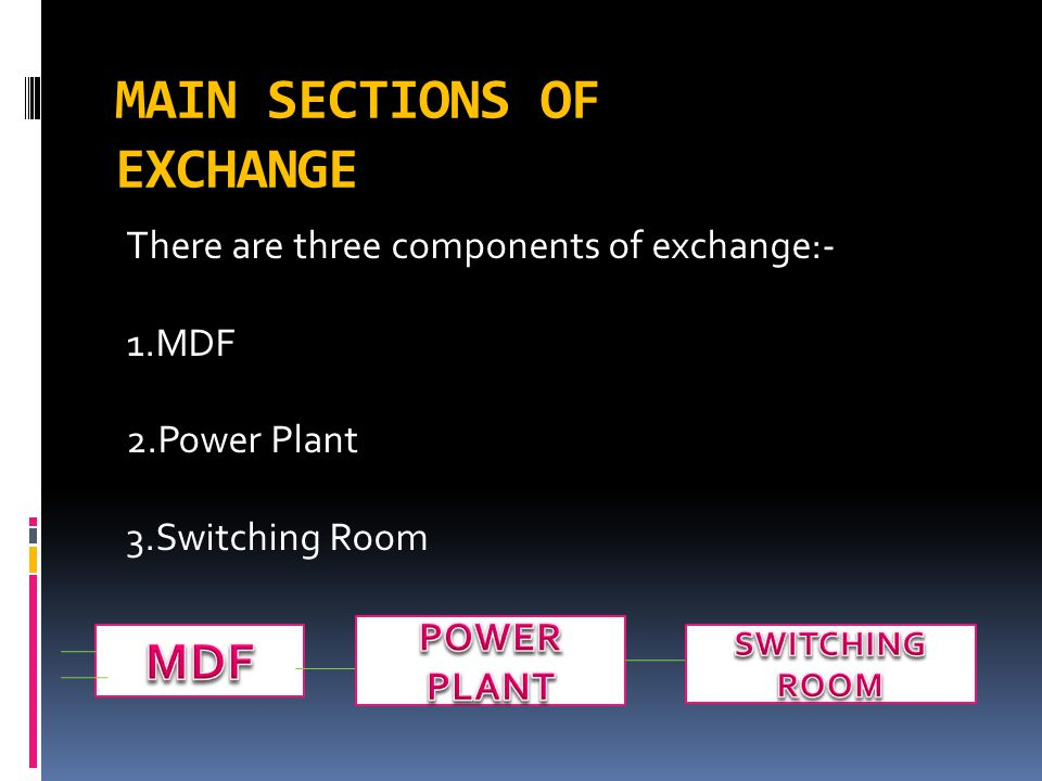 MAIN SECTIONS OF EXCHANGE