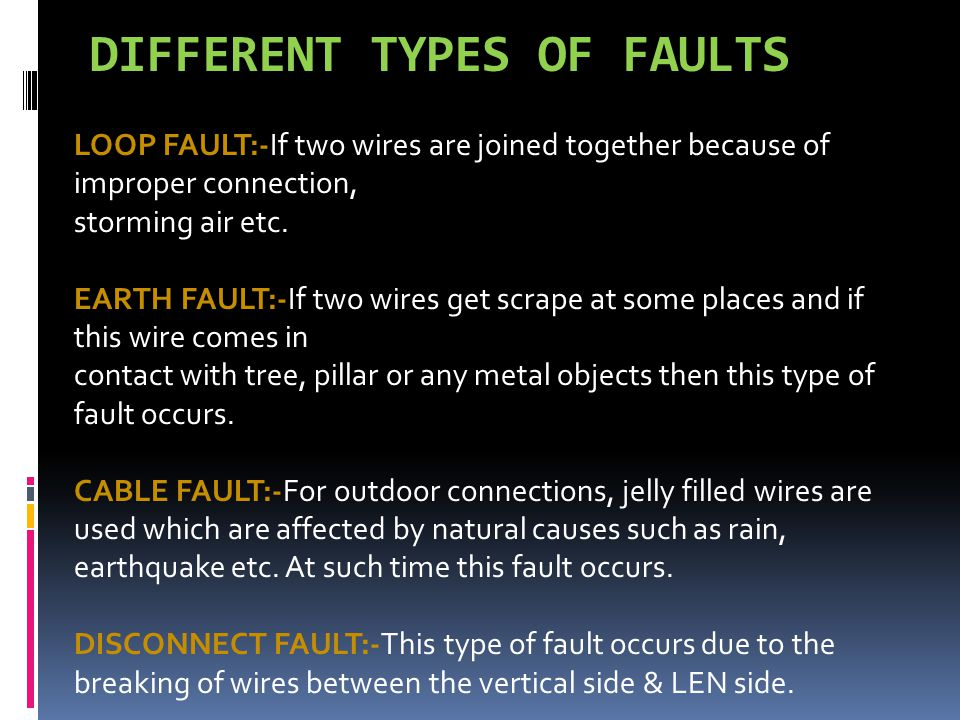 DIFFERENT TYPES OF FAULTS