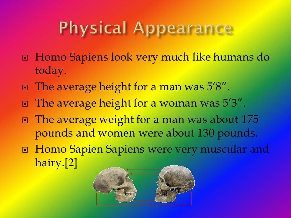 Physical Appearance Homo Sapiens look very much like humans do today.