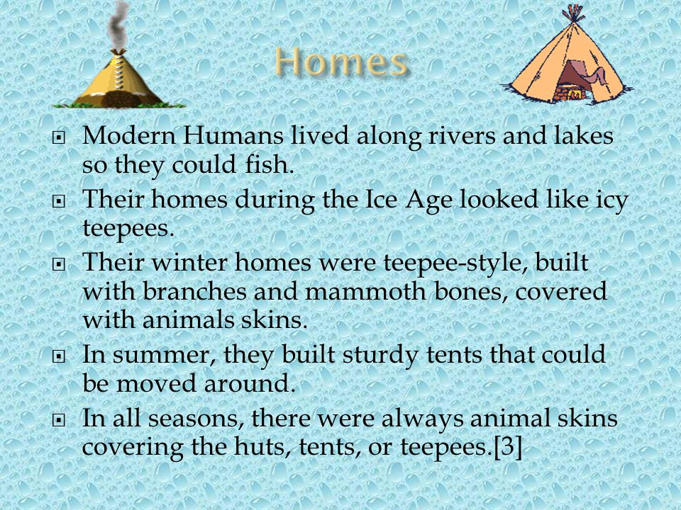Homes Modern Humans lived along rivers and lakes so they could fish.