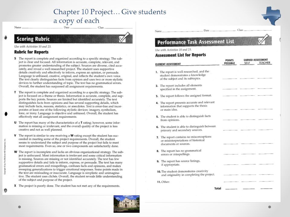 Chapter 10 Project… Give students a copy of each