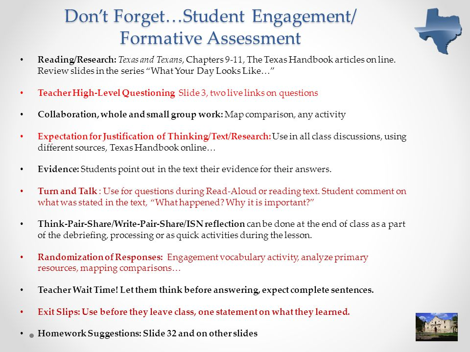 Don't Forget…Student Engagement/ Formative Assessment