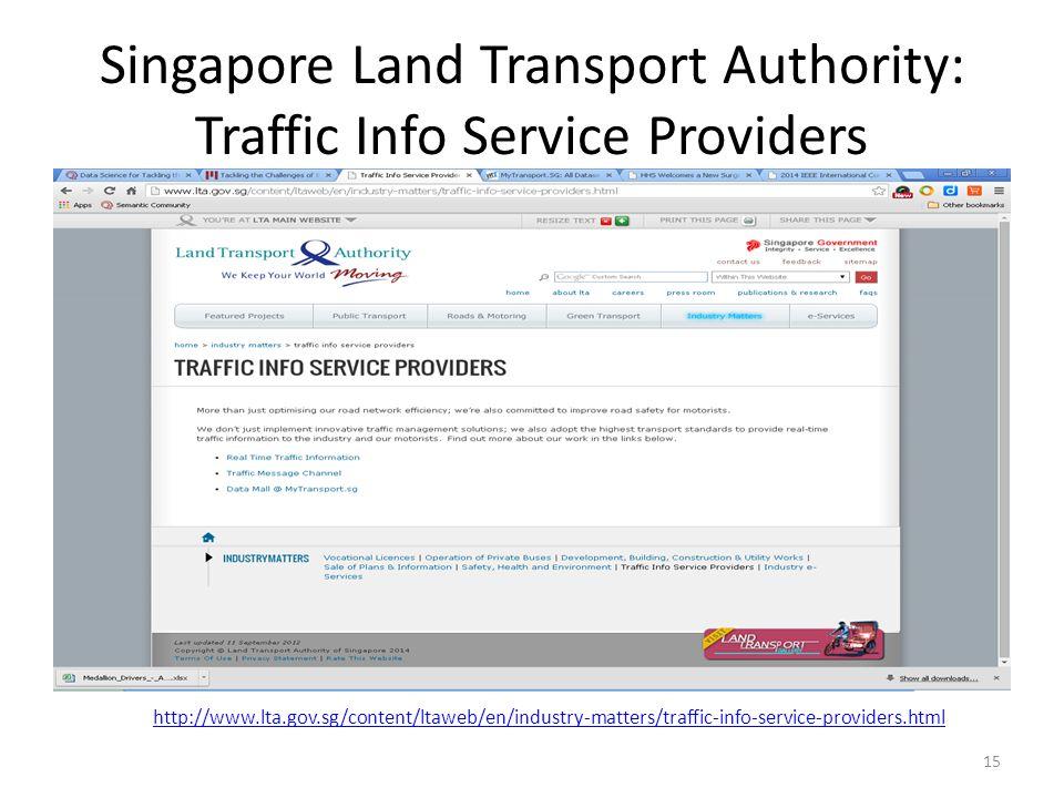 Singapore Land Transport Authority: Traffic Info Service Providers