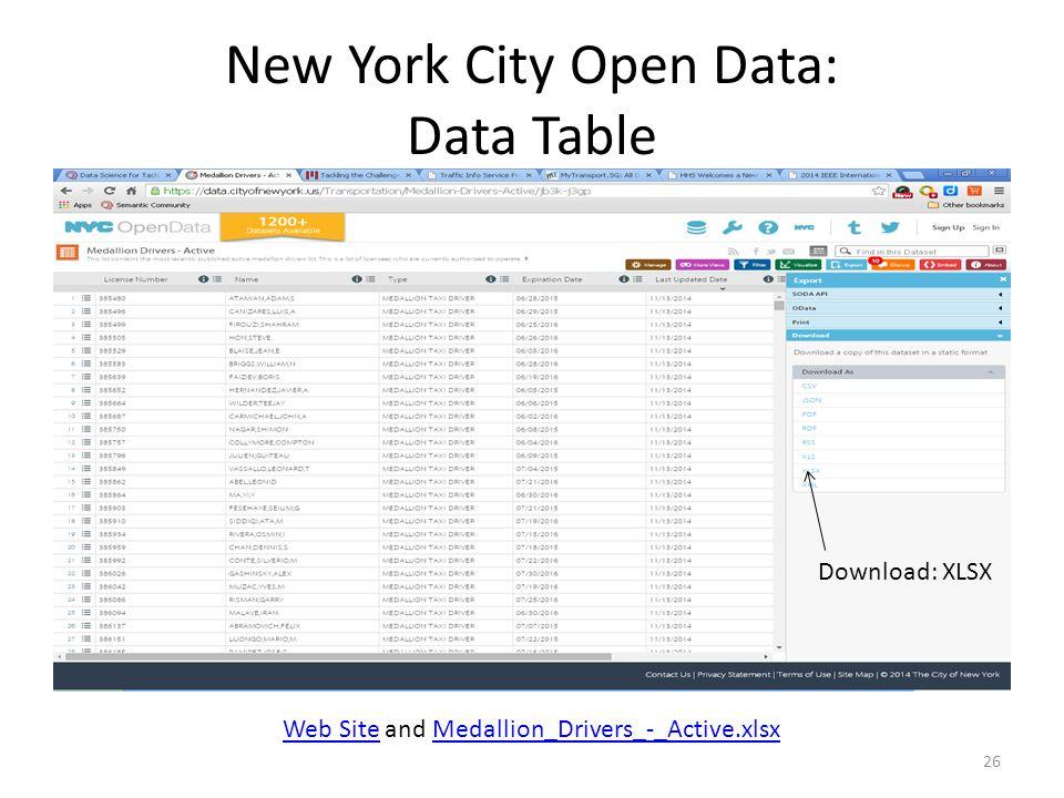 New York City Open Data: Data Table