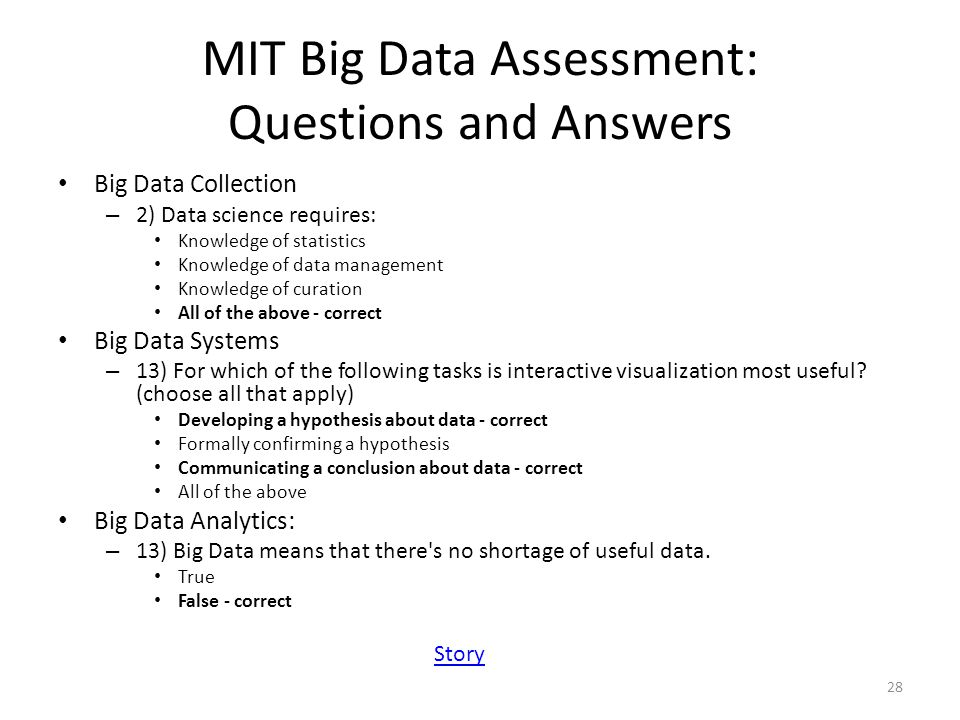 MIT Big Data Assessment: Questions and Answers