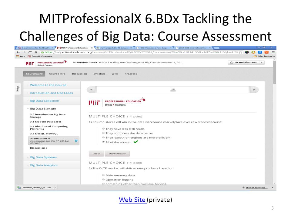 MITProfessionalX 6.BDx Tackling the Challenges of Big Data: Course Assessment