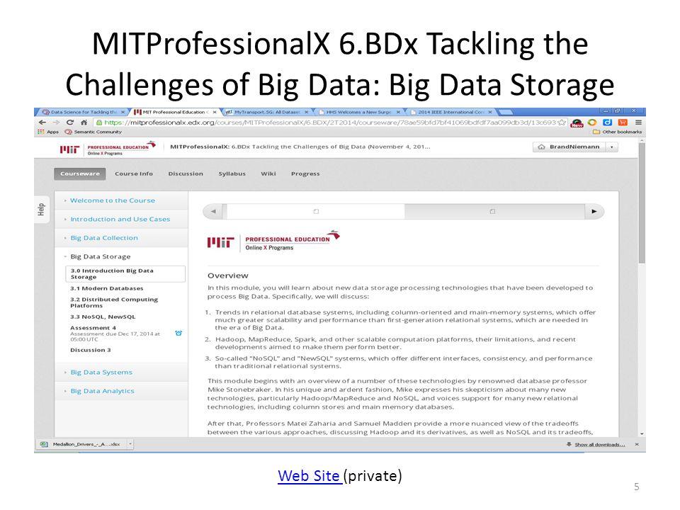 MITProfessionalX 6.BDx Tackling the Challenges of Big Data: Big Data Storage