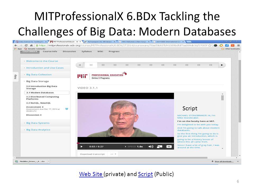 MITProfessionalX 6.BDx Tackling the Challenges of Big Data: Modern Databases