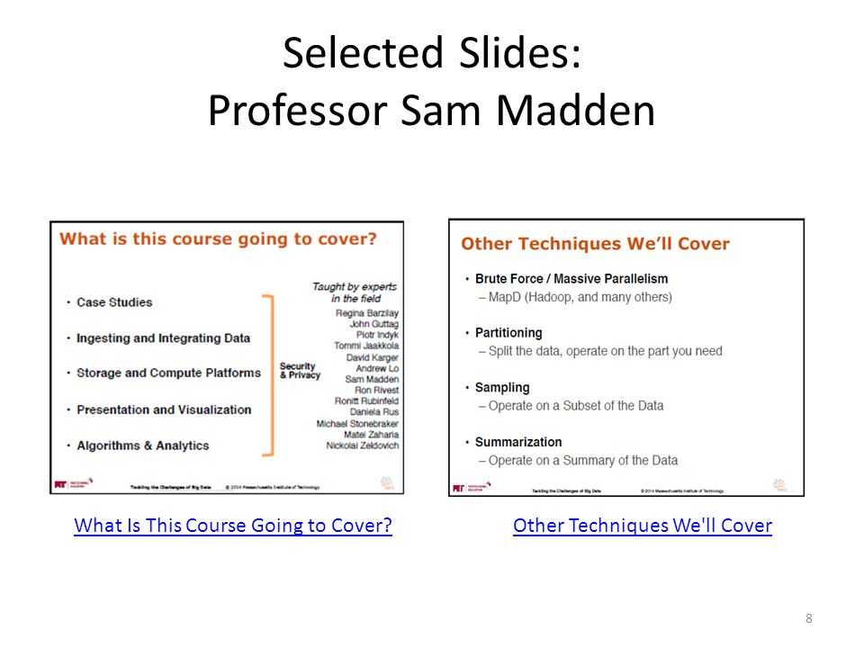Selected Slides: Professor Sam Madden