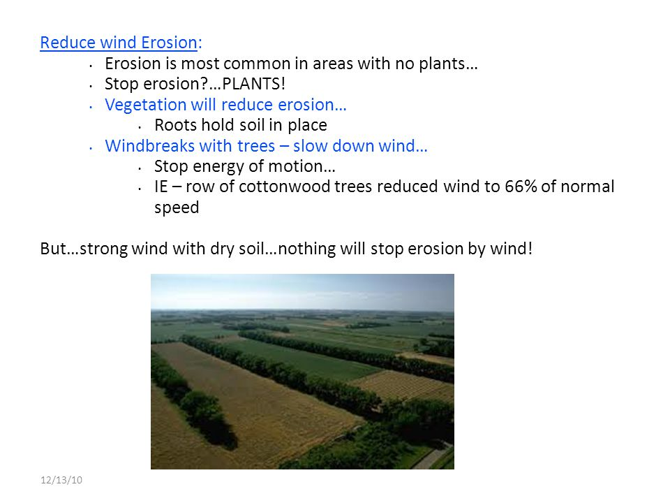 Erosion is most common in areas with no plants… Stop erosion …PLANTS!
