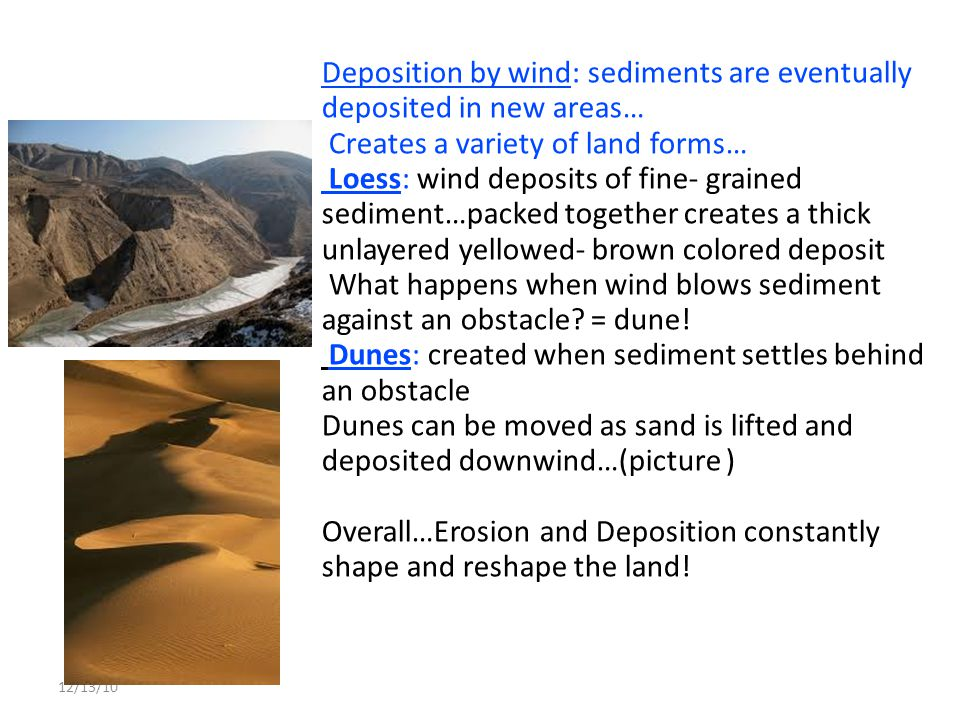 Deposition by wind: sediments are eventually deposited in new areas…