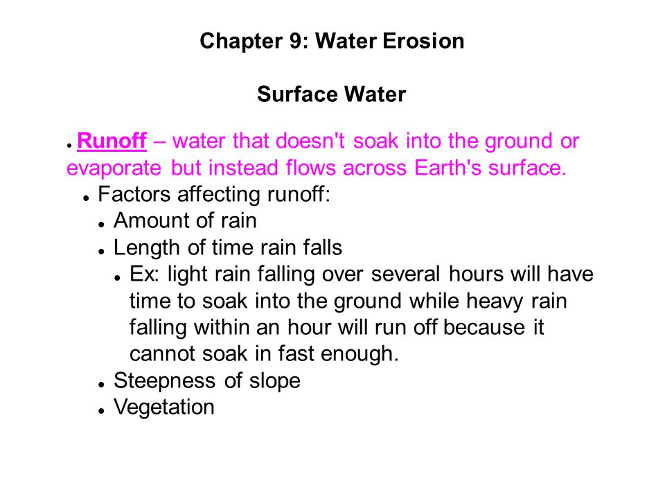 Chapter 9: Water Erosion