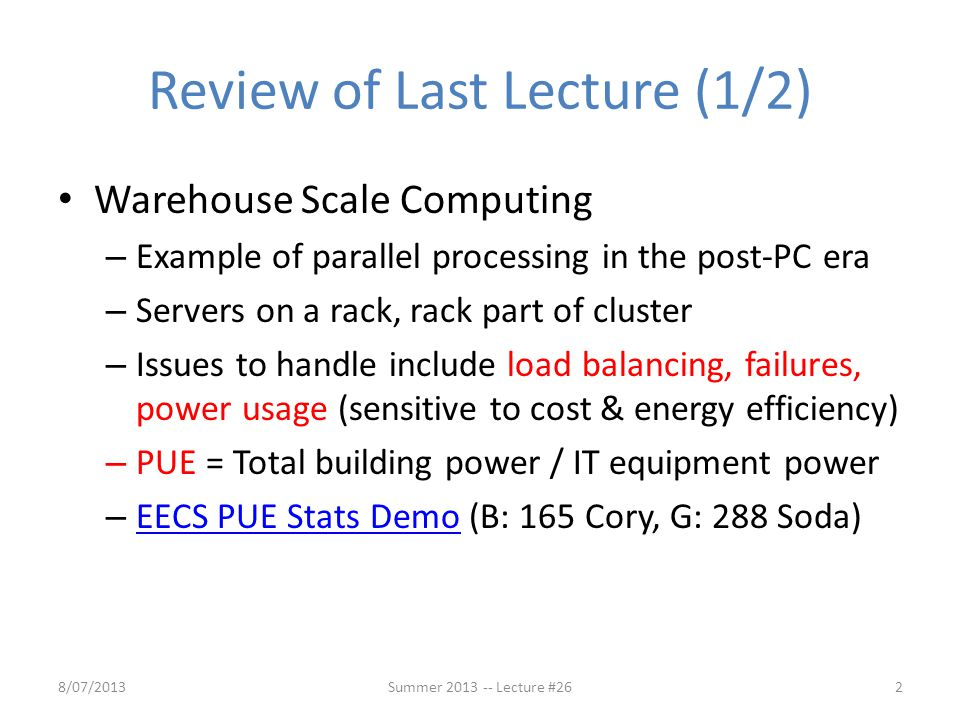 Review of Last Lecture (1/2)
