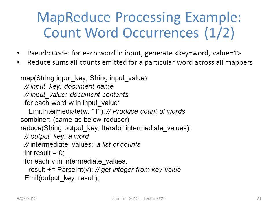 MapReduce Processing Example: Count Word Occurrences (1/2)