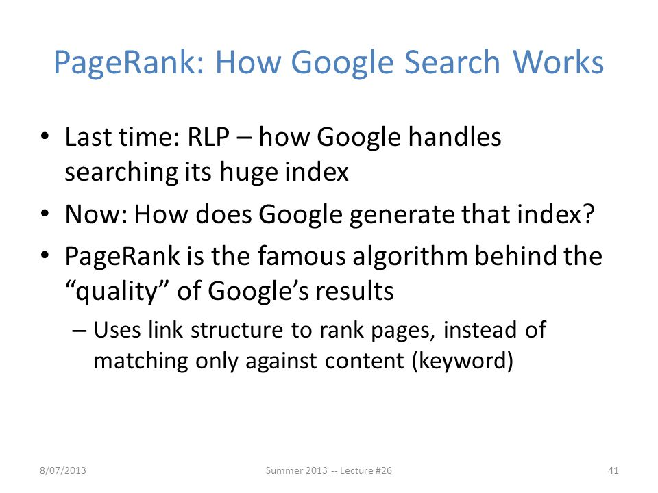 PageRank: How Google Search Works