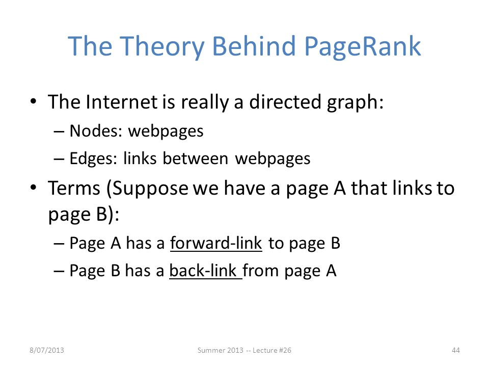 The Theory Behind PageRank
