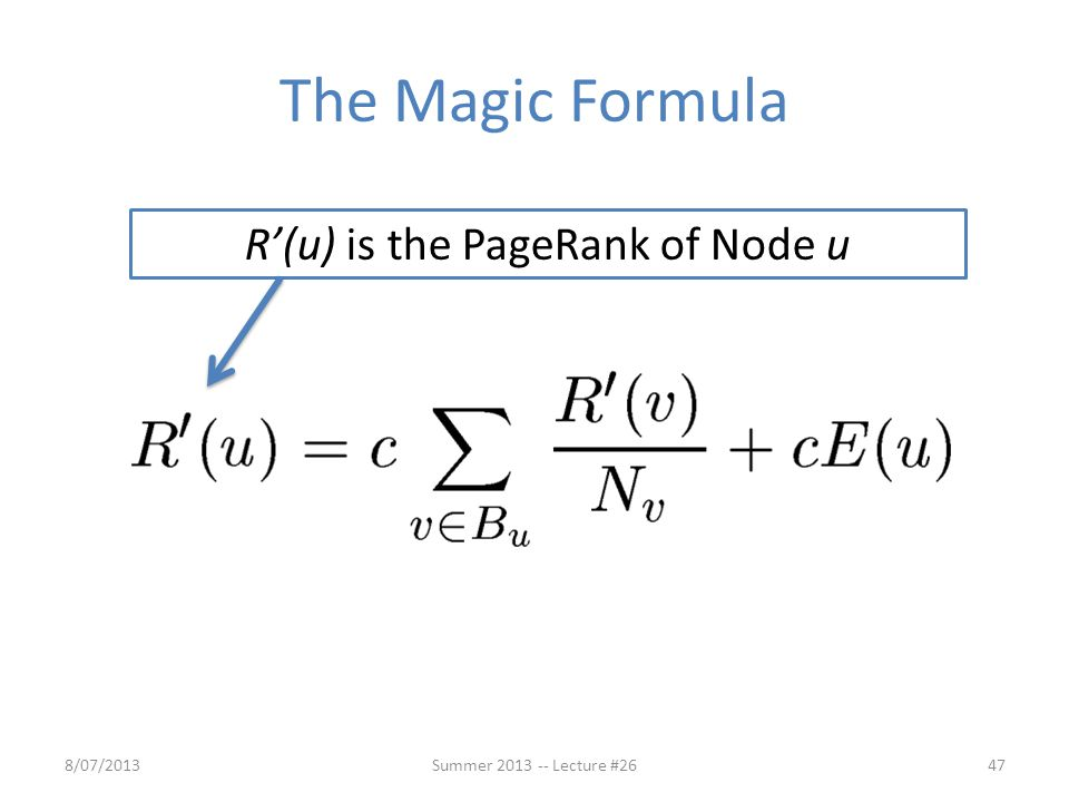 R'(u) is the PageRank of Node u