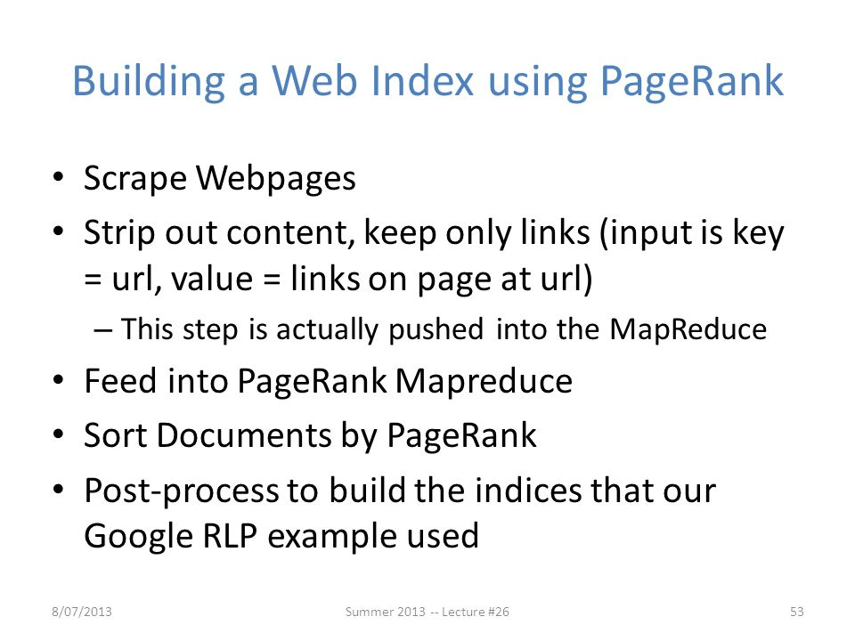 Building a Web Index using PageRank