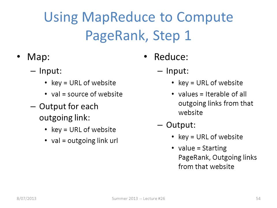 Using MapReduce to Compute PageRank, Step 1